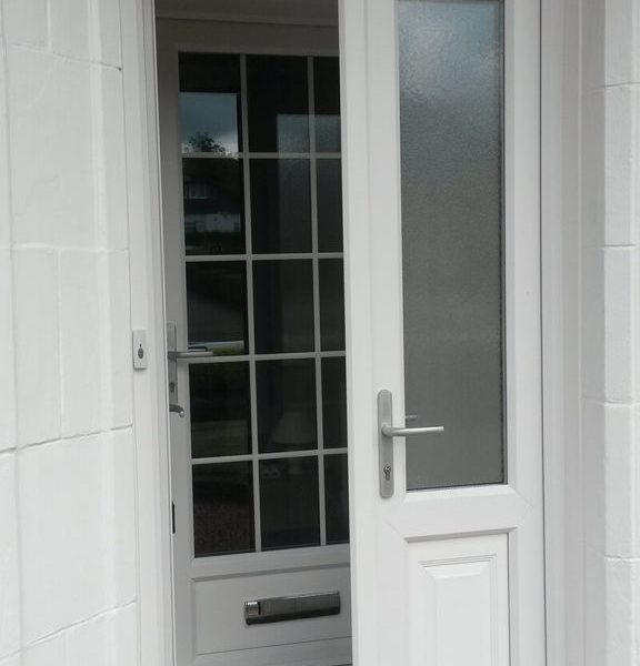 Double Front door in uPVC with internal door and Georgian bar