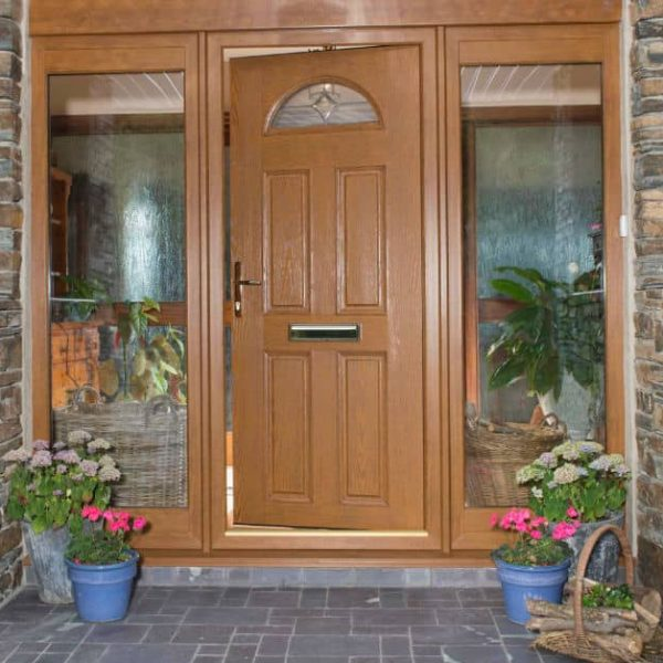 Golden Oak PVC front doors with slide screens