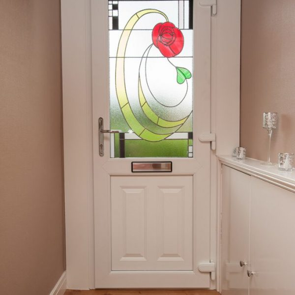 uPVC entrance door with decorative glass