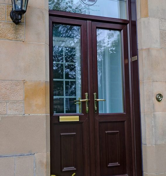 Rosewood front in uPVC with fanlight and decorative glass installed in Ayrshire and Glasgow